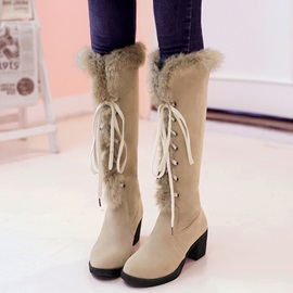 PU Lace-Up Front Block Heel Women' Knee High Boots