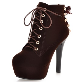 PU Lace-Up Front Ribbon Platform High Heel Boots