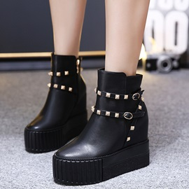 PU Side Zipper Hidden Wedge Black Women's Boots