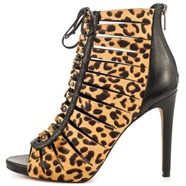 PU Back Zip Lace-Up Leopard Women's Shoes