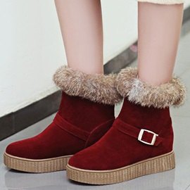 Suede Buckle Slip-On Flat Women's Snow Boots