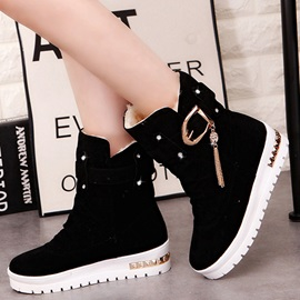 PU Slip-On Ruched Buckle Flat Women's Fashion Boots
