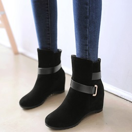 Suede Slip-On Strap Flat Women's Boots