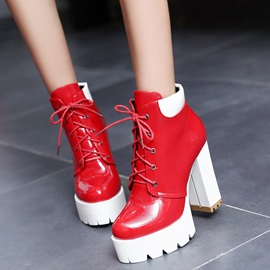 PU Lace-Up Front Block Heel Women's Boots Sale