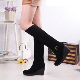 PU Side Zipper Wedge Heel Women's Knee High Boots