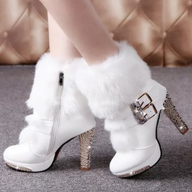 PU Rhinestone Buckle Side Zipper Women's Boots