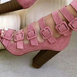 Pink Buckled Peep Toe Chunky Booties