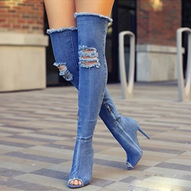 Denim Side Zipper Hollow Worn Women's Boots