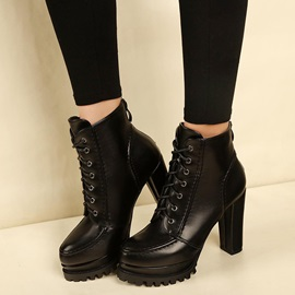 PU Cross Strap Back Zip Chunky Heel Women's Boots
