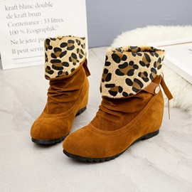 Faux Suede Slip-On Hidden Heel Leopard Ankle Boots