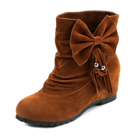 Faux Suede Bow Fringe Slip-On Hidden Heel Women's Boots