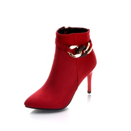 Faux Suede Sequin Pointed Toe Stiletto Ankle Boots