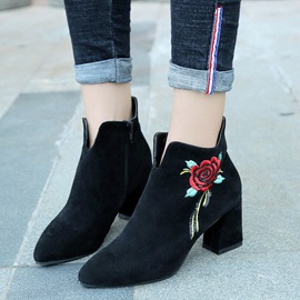 Faux Suede Floral Embroidery Women's Black Boots