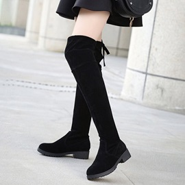 Faux Suede Block Heel Lace-Up Back Women's Black Boots