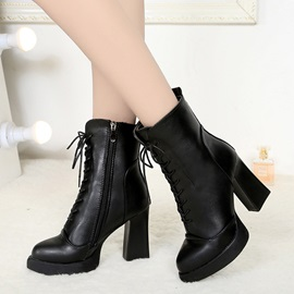 PU Cross Strap Side Zipper Black Martin Boots