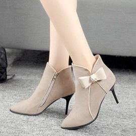 Faux Suede Side Zipper Pointed Toe Bow Ankle Boots