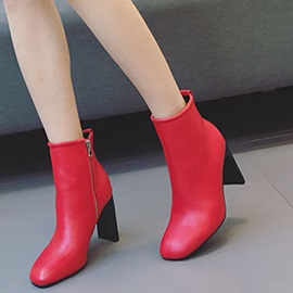 PU Square Toe Side Zipper Block Heel Women's Ankle Boots