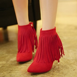 Faux Suede Fringe Side Zipper Stiletto Women's Boots