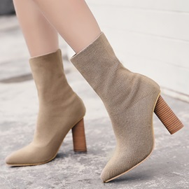 Spandex Slip-On Block Heel Women's Fashion Boots