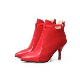 Faux Suede Hasp Patchwork Stiletto Women's Boots