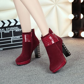 Faux Suede Alligator Pattern Patchwork Women's Boots