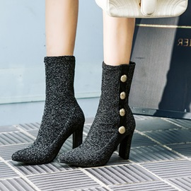 Spandex Sequin Slip-On Chunky Heel Women's Boots