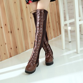Faux Suede Patchwork Cross Strap Women's Boots