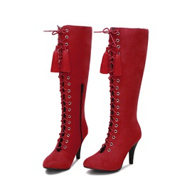 Faux Suede Cross Strap Fringe Side Zipper Women's Boots