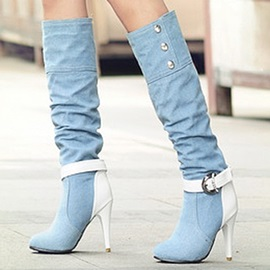Denim Buckle Rhinestone Patchwork Women's Boots