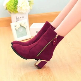 Faux Suede Side Zipper Chunky Heel Women's Ankle Boots