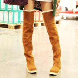 Faux Suede Slip-On Plush Thigh High Boots for Women