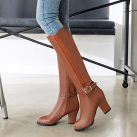 PU Buckle Patchwork Chunky Heel Women's Boots
