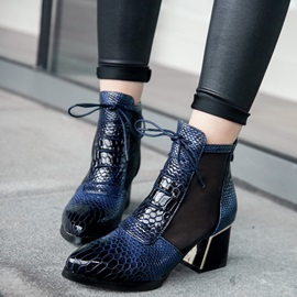 PU See-Through Serpentine Pointed Toe Women's Boots