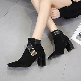Faux Suede Side Zipper Patchwork Women's Boots