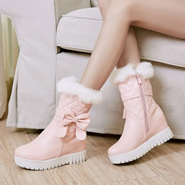 PU Patchwork Bow Hidden Heel Women's Boots