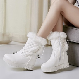PU Lace-Up Hidden Heel Side Zipper Women's Snow Boots