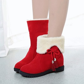 Faux Suede Slip-On Fringe Lace-Up Women's Snow Boots