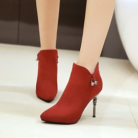 Faux Suede Side Zipper Rhinestone Stiletto Women's Boots