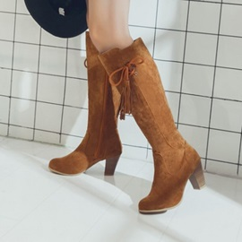 Faux Suede Side Zipper Fringe Women's Boots