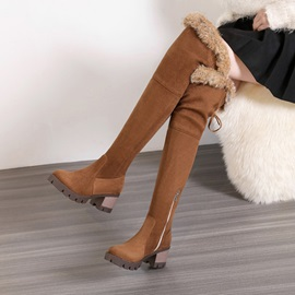 Faux Suede Purfle Side Zipper Women's Boots