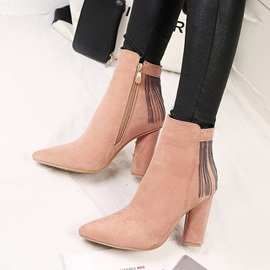 Faux Suede Side Zipper Fringe Stiletto Ankle Boots