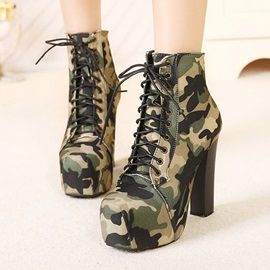 PU Camouflage Lace-Up Front Women's Ankle Boots
