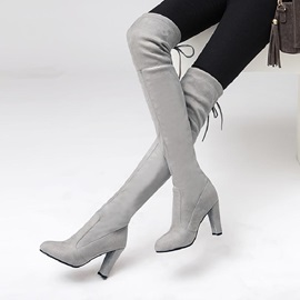 Faux Suede Lace-Up Back Chunky Heel Women's High Boots
