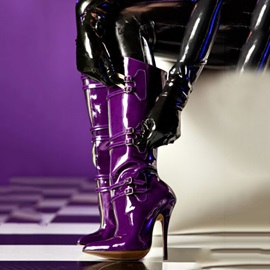PU Buckle Pointed Toe Side  Purple Boots