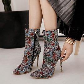 Cloth Pointed Toe Floral Rhinestone Women's Boots