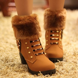 PU Rivet Sequin Buckle Side Zipper Women's Snow Boots