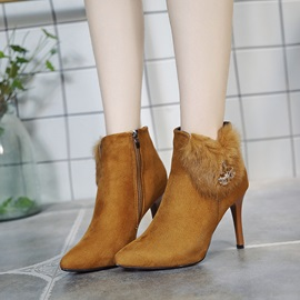Faux Suede Patchwork Side Zipper Women's Ankle Boots