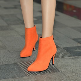 Faux Suede Back Zip Stiletto Pointed Toe Women's Boots