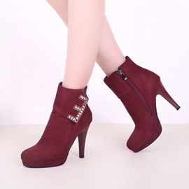 Faux Suede Rhinestone Side Zipper Women's Boots