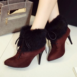 Faux Suede Patchwork Pointed Toe Stiletto Booties